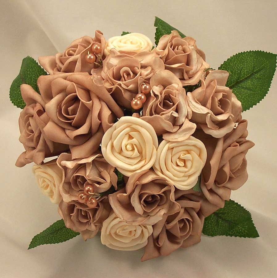 Cream & Mocha Mixed Rose Posy Bouquet