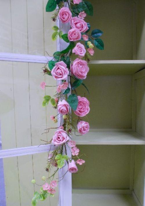 Pink Garden Rose Garland & Table Decoration