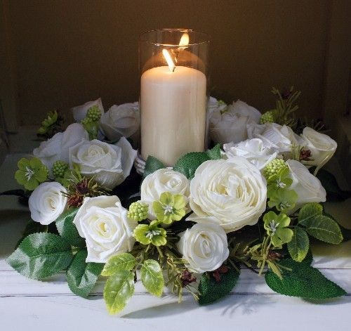 Cream Garden Rose Centerpiece Table Decoration