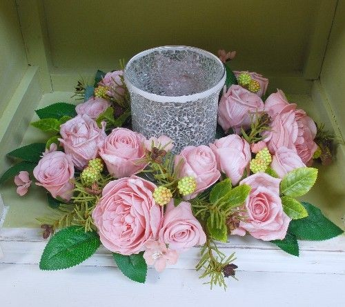Pink Garden Rose Centerpiece Table Decoration