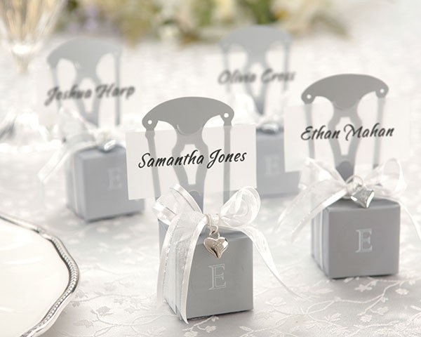 Miniature Silver Chair Favour Box with Heart Charm and Ribbon