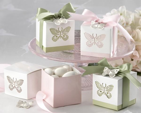 Butterflies Laser-Cut Favour Box - (Baby Pink)