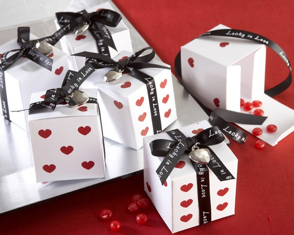 """""""Lucky in Love"""" Dice Favour Boxes with Imprinted Ribbon and Heart Charm"""