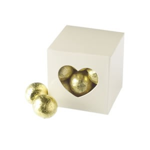 Clear Heart Favour Boxes - Cream