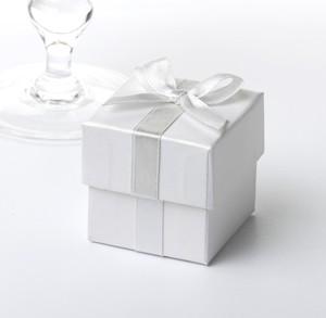 White & Silver Ribbon Favour Boxes