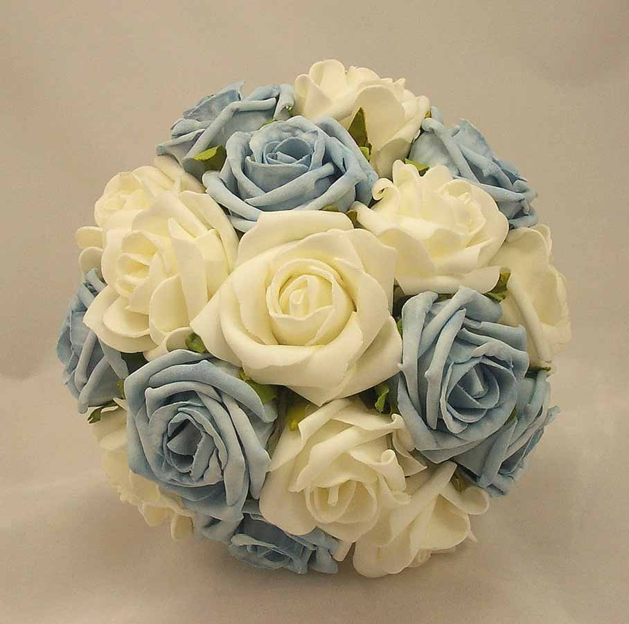 Posy Bouquets Baby Blue White Rose Posy Bouquet Silk Wedding