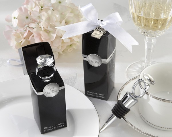 """With This Ring"" Chrome Diamond Ring Bottle Stopper"