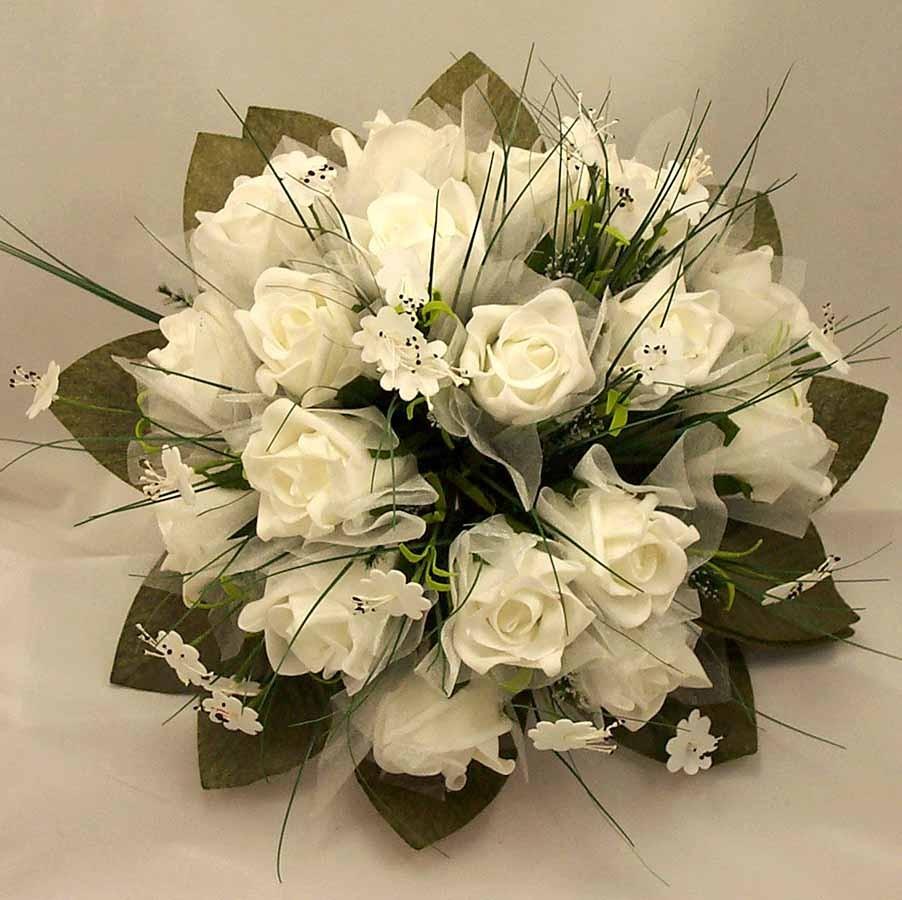 White Rose & Stephanotis Posy Bouquet
