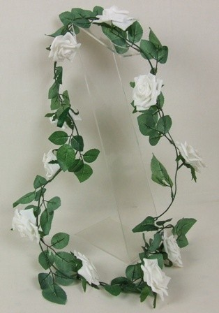 White Open Rose Garland & Table Decoration