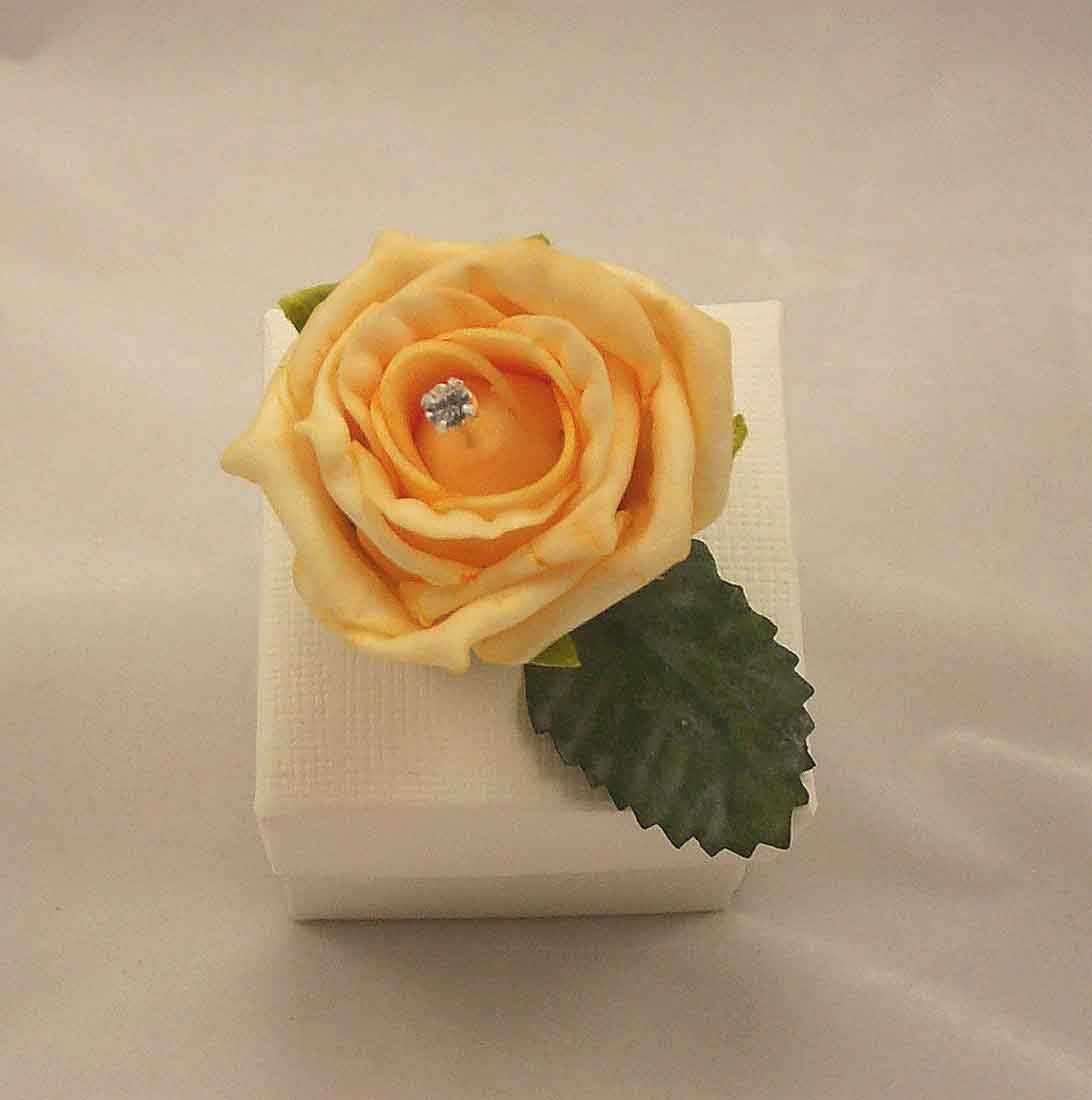 Gold Rose Diamante Favour Box