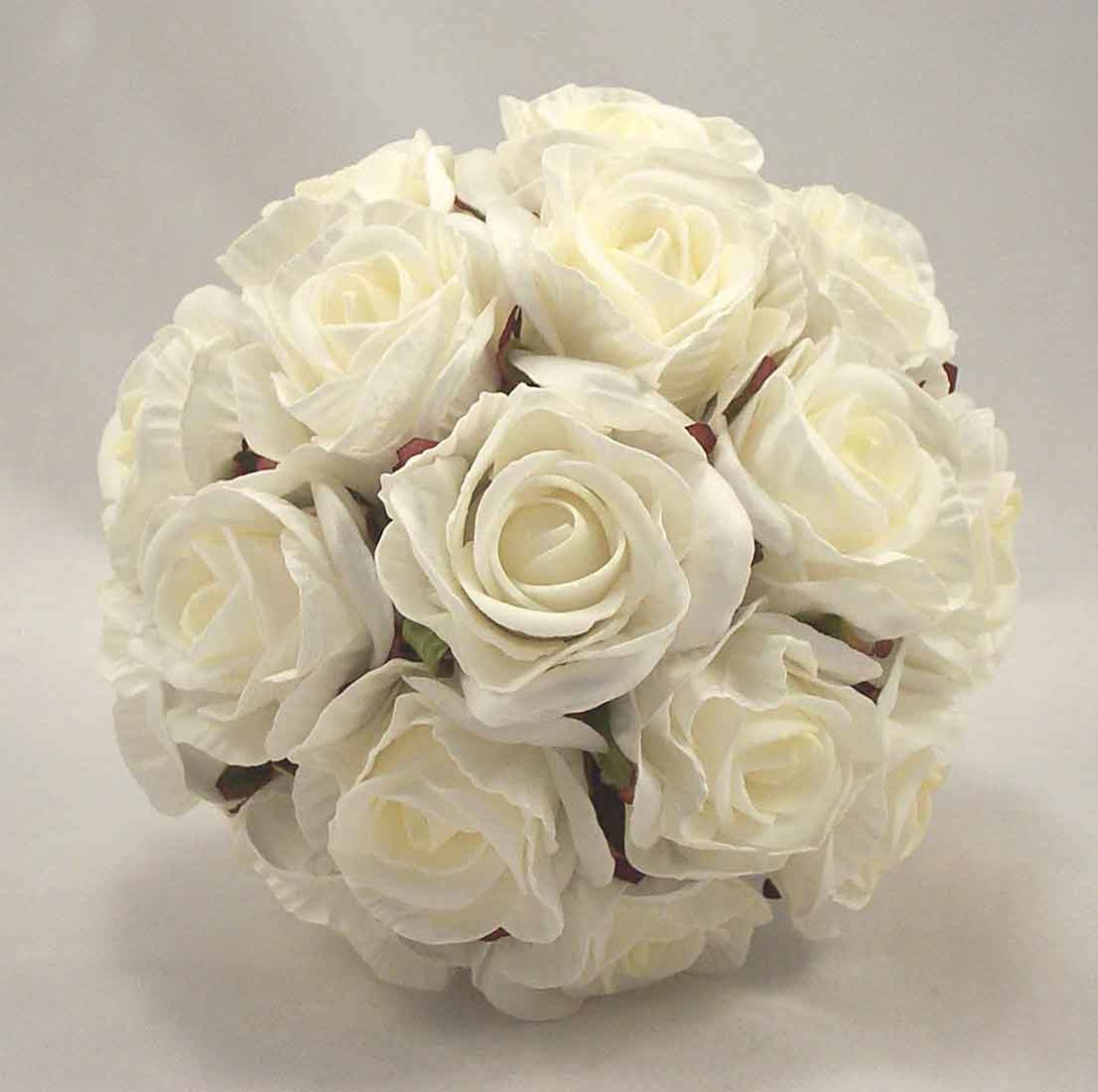 Crimped Ivory Rose Bridesmaid's Bouquet