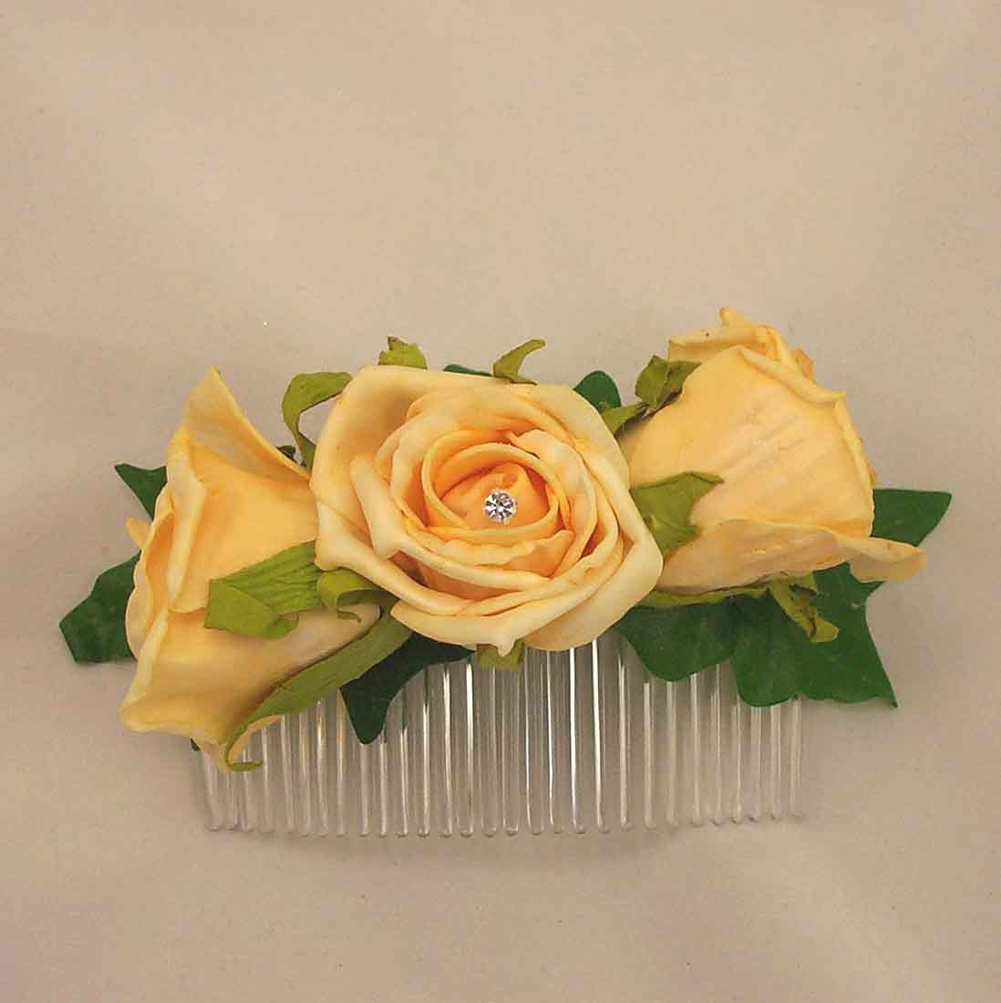 Gold Open Rose Hair Comb