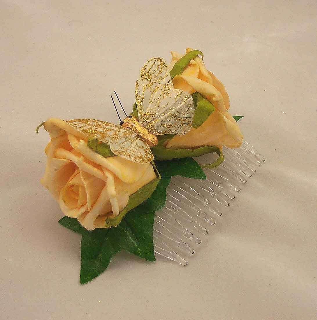Flowergirl's Gold Rose Hair Comb