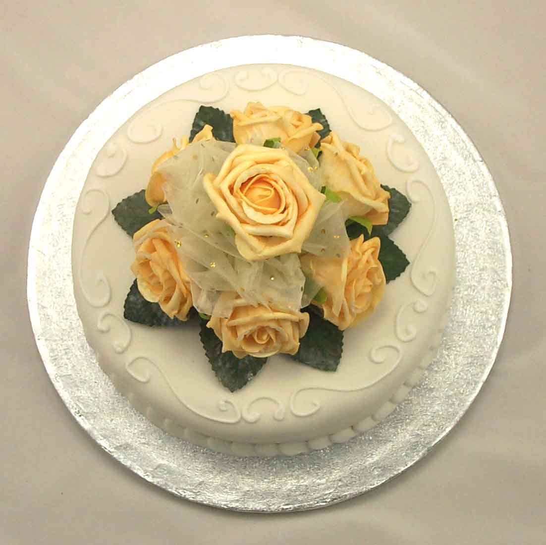 Gold Rose Organza Cake Topper