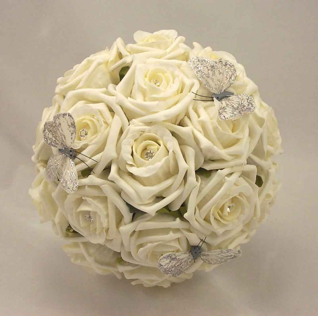 Bridesmaids Bouquets Ivory Rose Diamante Butterfly Bouquet Silk