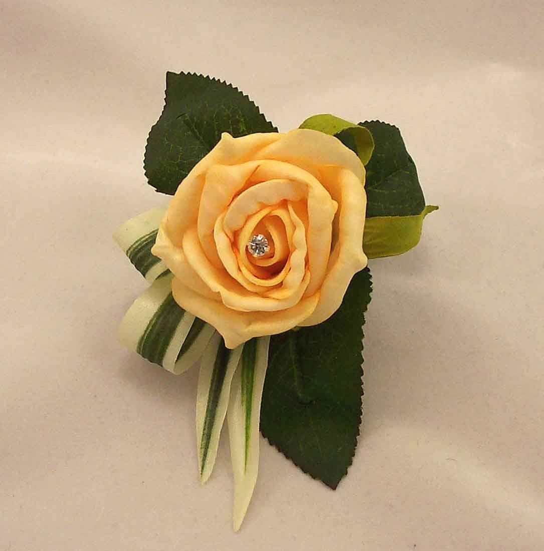 Gold Rose Diamante Buttonhole