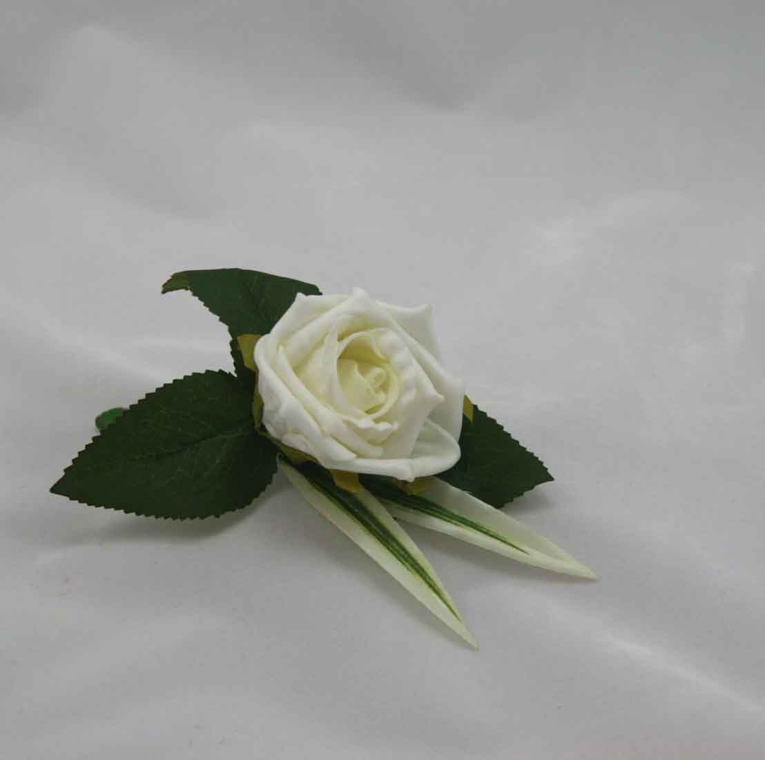 Single Ivory Rose Buttonhole