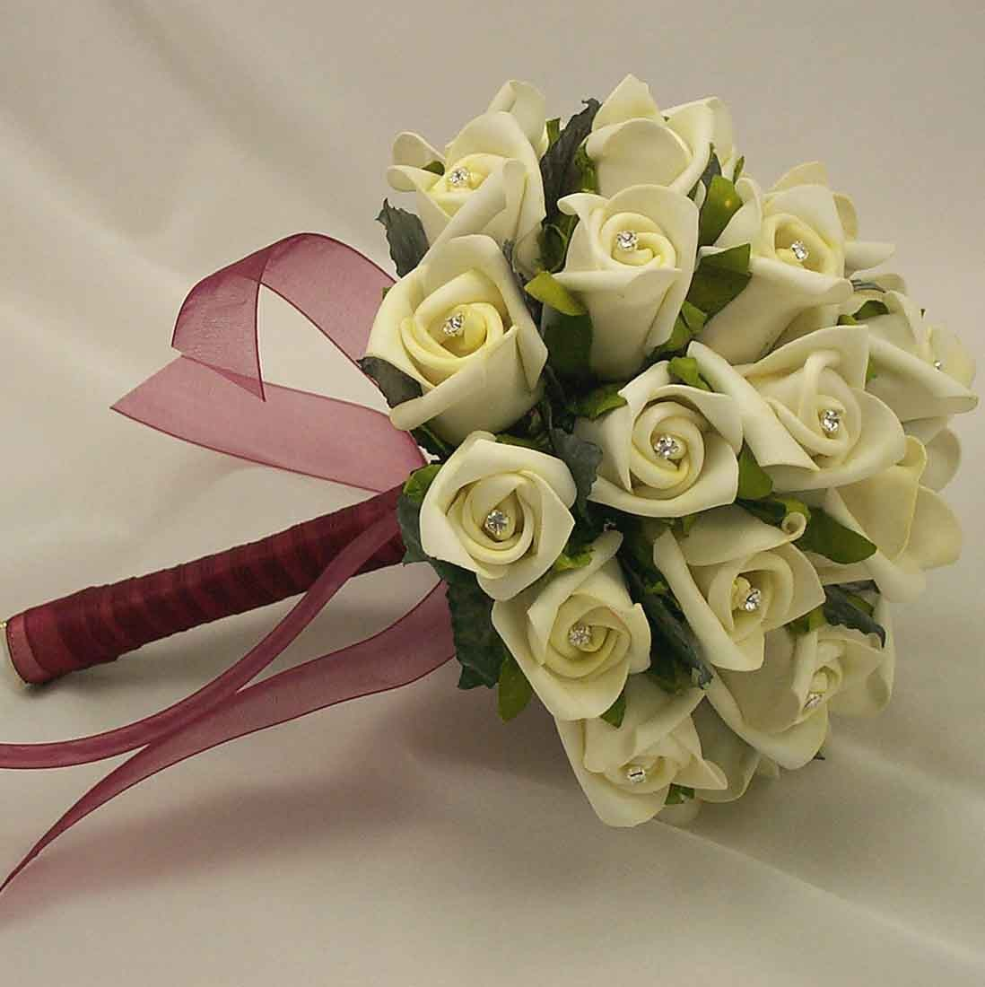 Bridal Bouquets - Ivory Rosebud Diamante Bridal Bouquet - Silk ...