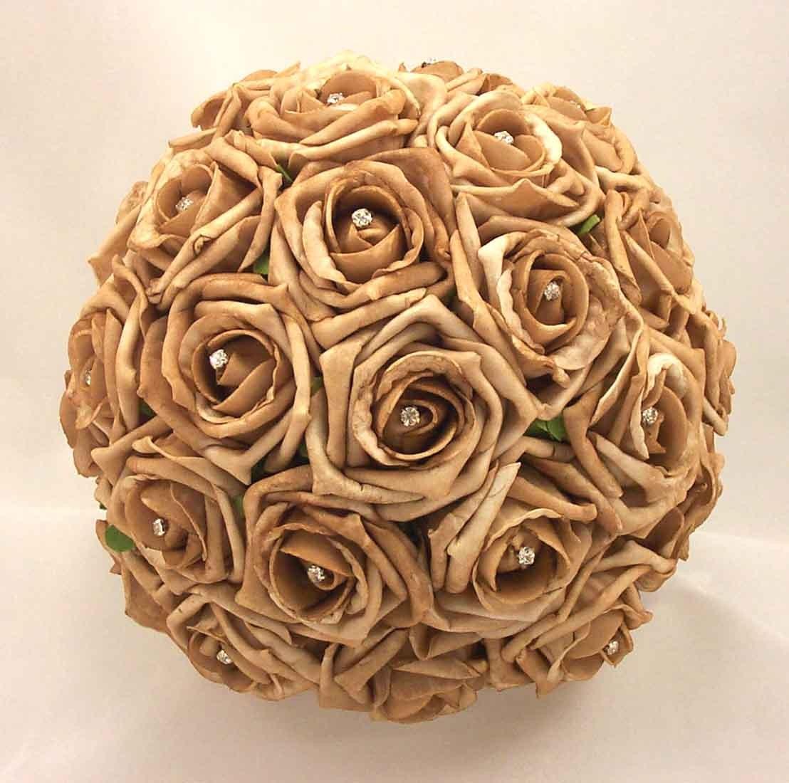 Mocha Rose Diamante Bridal Bouquet