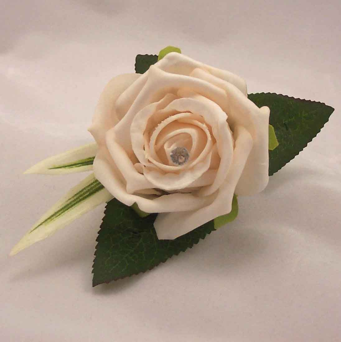 Cream Rose Diamante Buttonhole