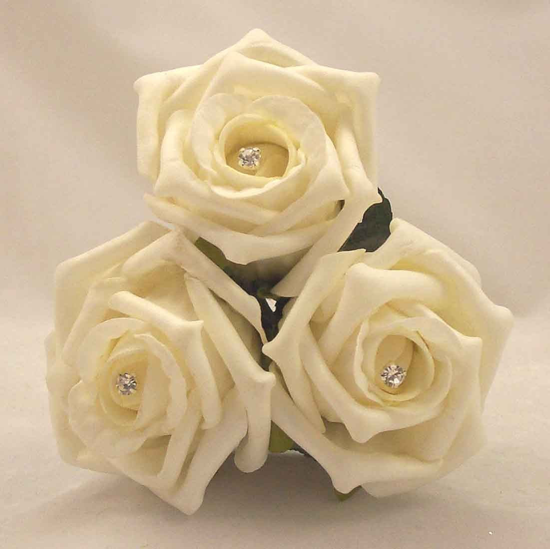 Ivory Diamante Rose Mini Flowergirl's Posy