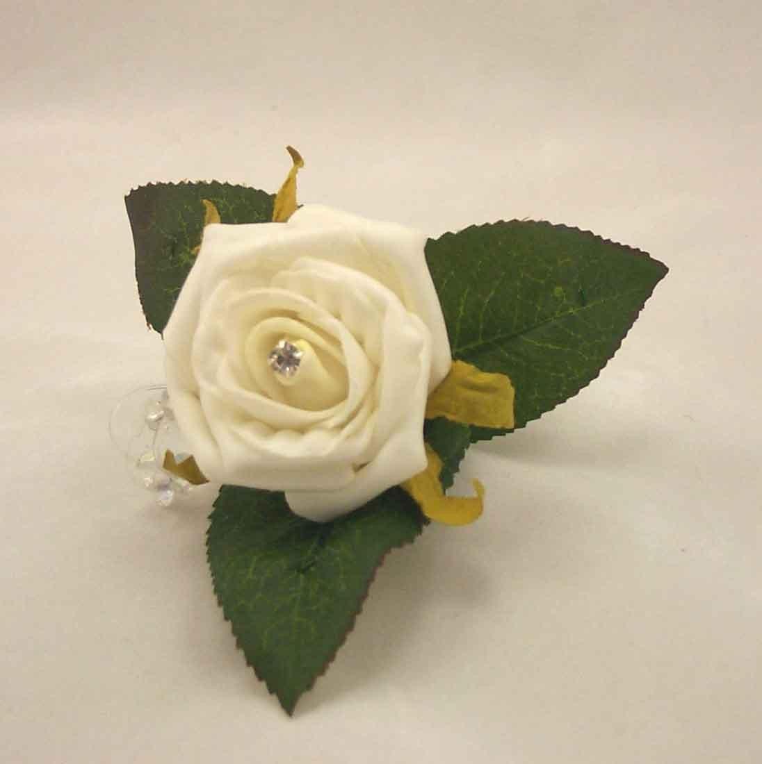 Ivory Rose Diamante Buttonhole