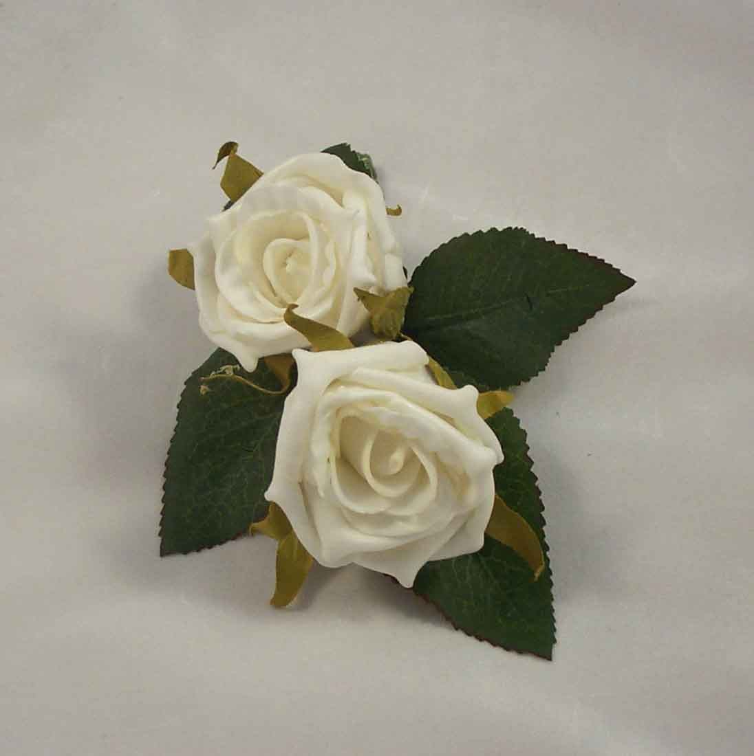 Double Ivory Rose Buttonhole