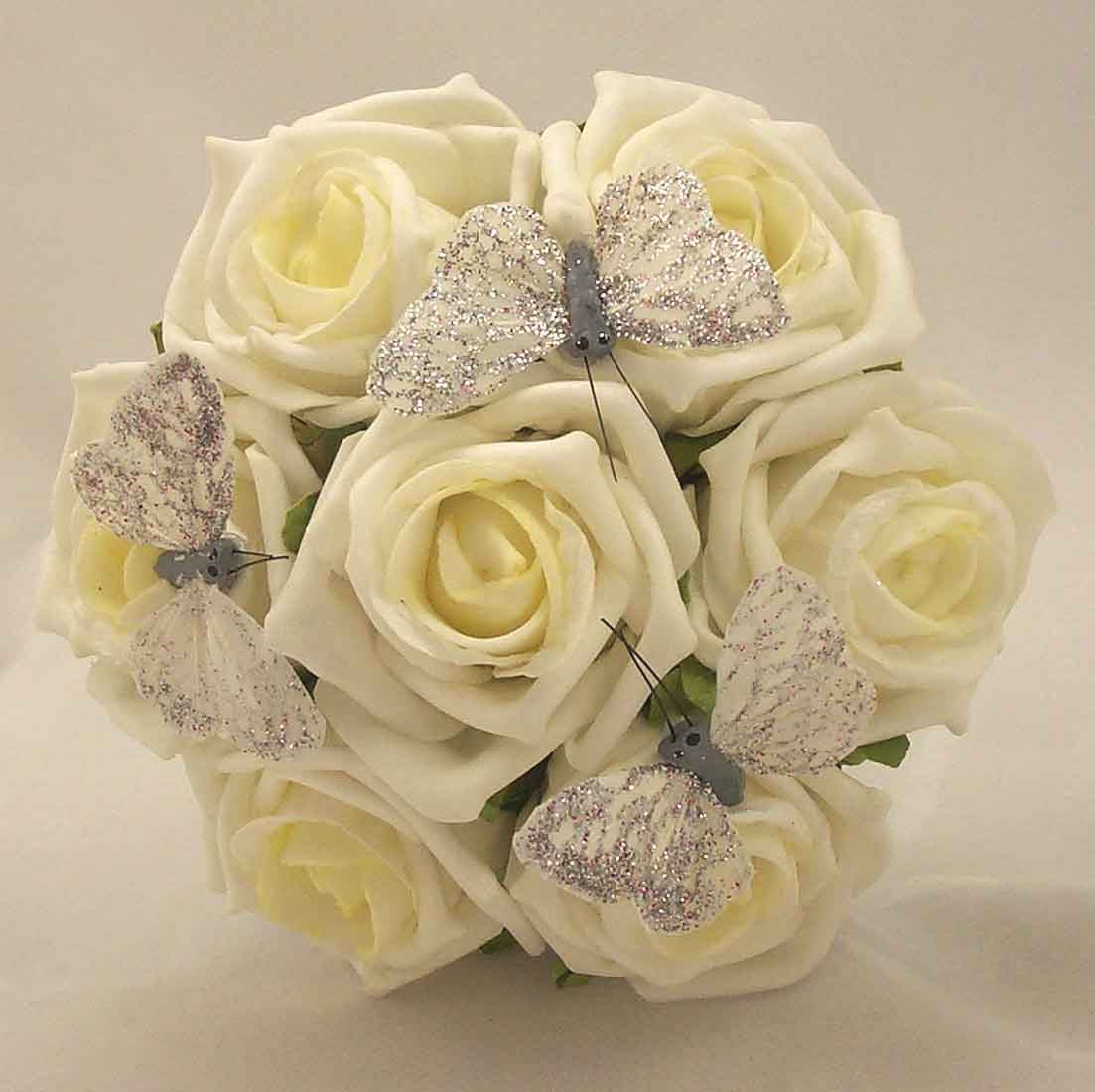 Ivory Rose Butterfly Children's Posy Bouquet