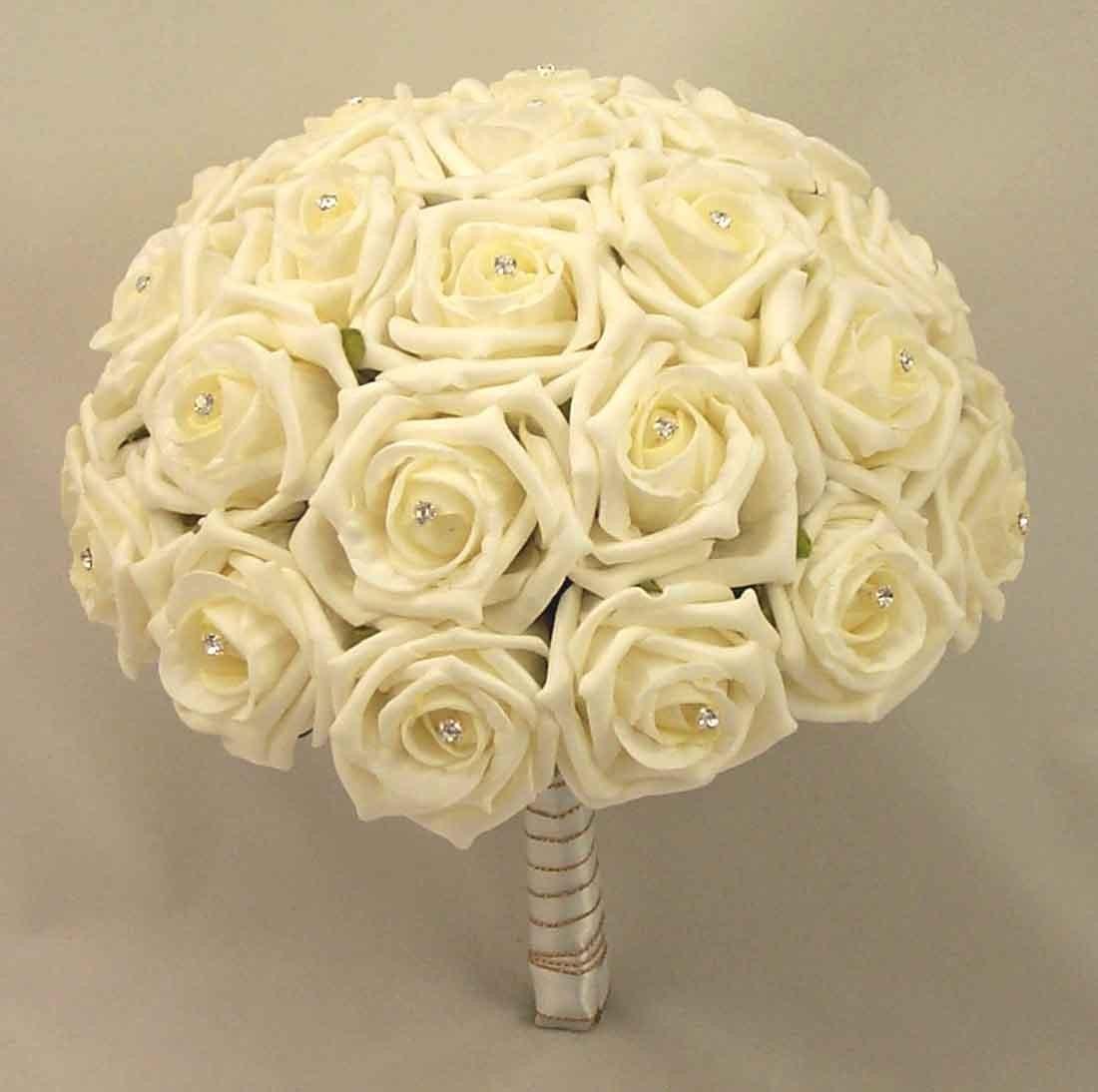 Large Ivory Diamante Rose Table Posy