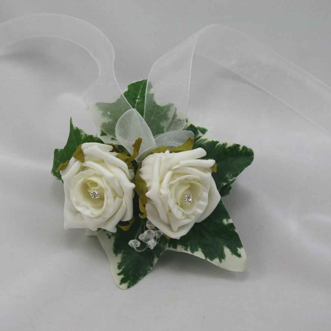 Wrist Corsages Ivory Rose Wrist Corsage Silk Wedding Flowers