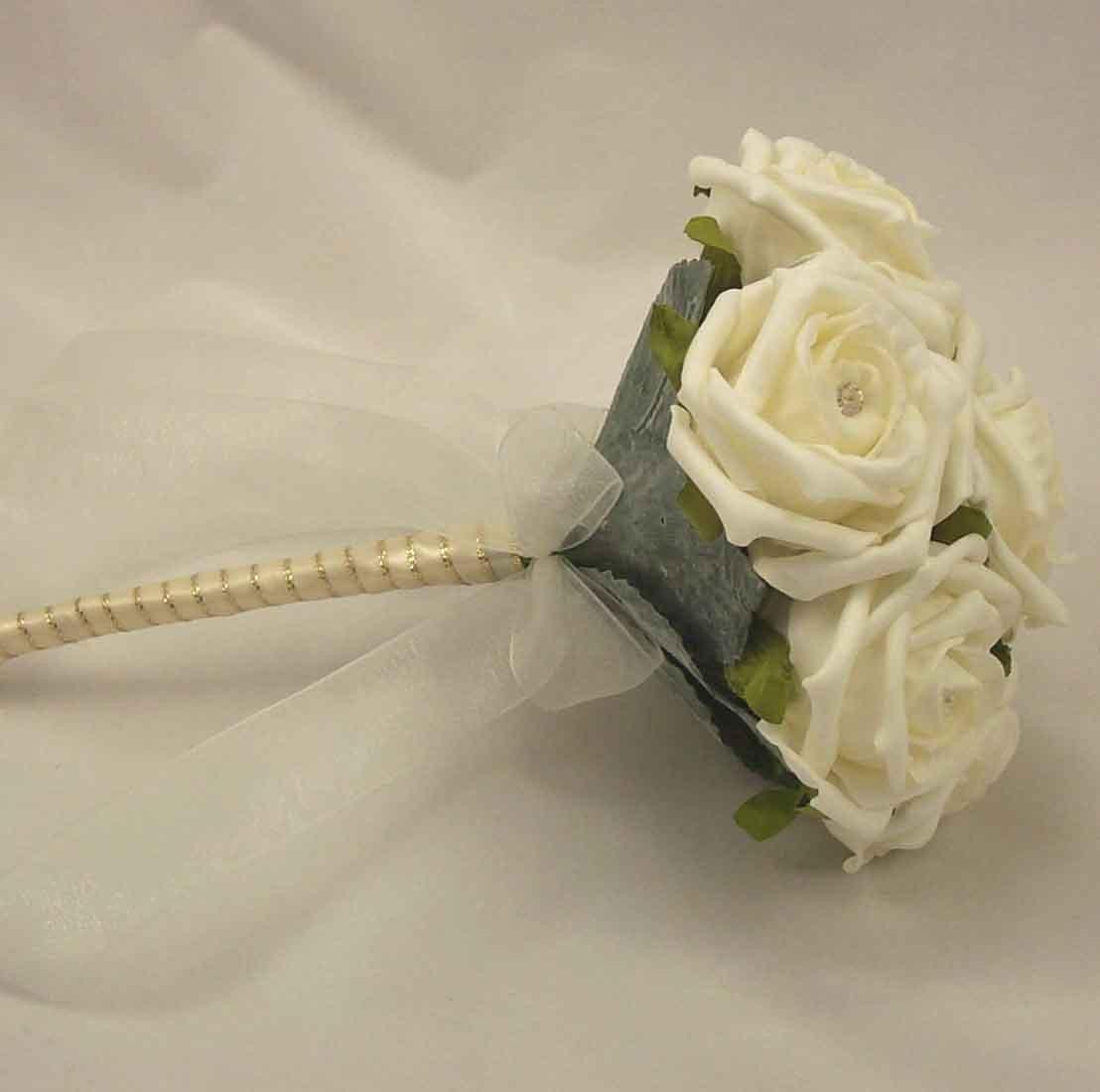 Ivory Rose Diamante Children's Posy Bouquet