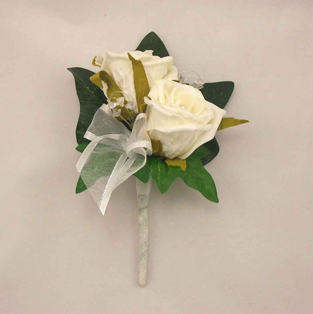 Double Ivory Rose Pearl Buttonhole
