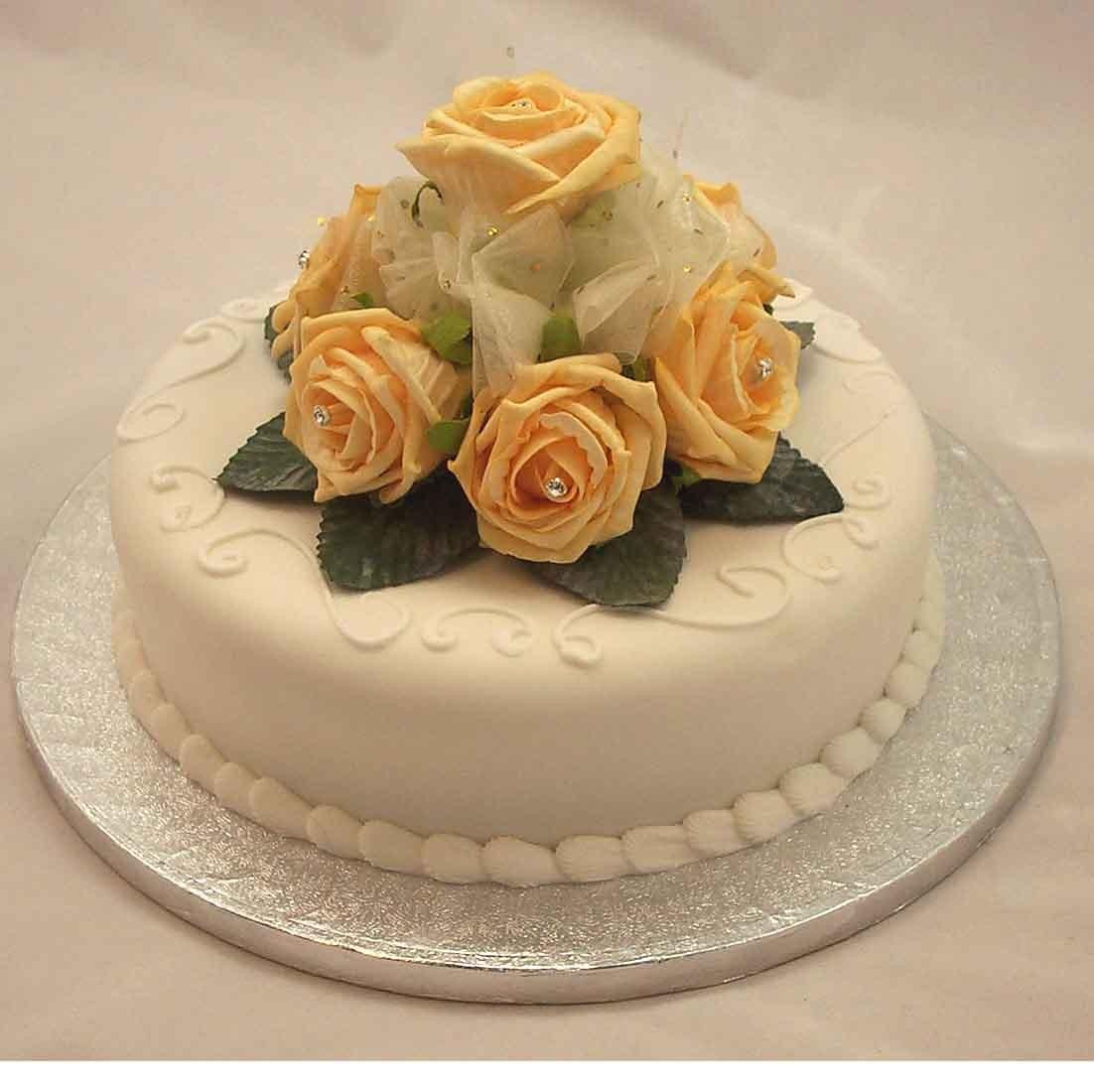 Gold Rose Diamante Organza Cake Topper