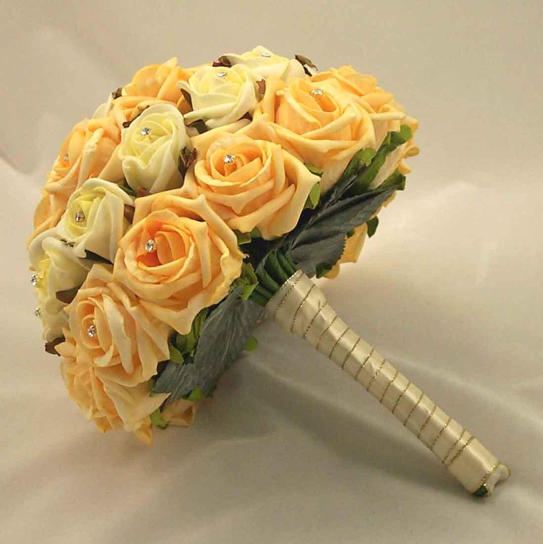 Bridal Bouquets - Ivory & Gold Rose Diamante Bridal Bouquet - Silk ...