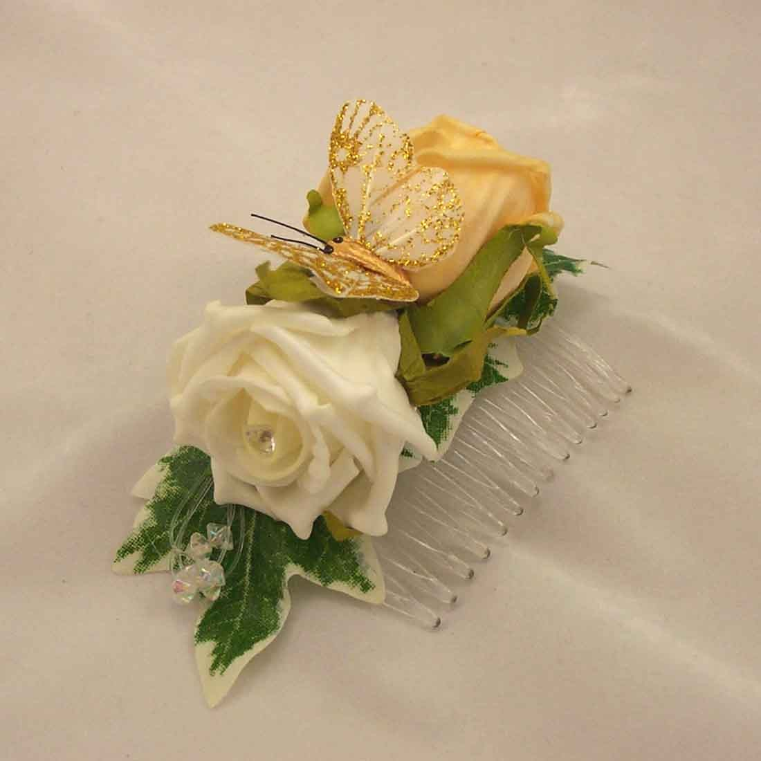 Flowergirl's Gold & Ivory Rose Hair Comb