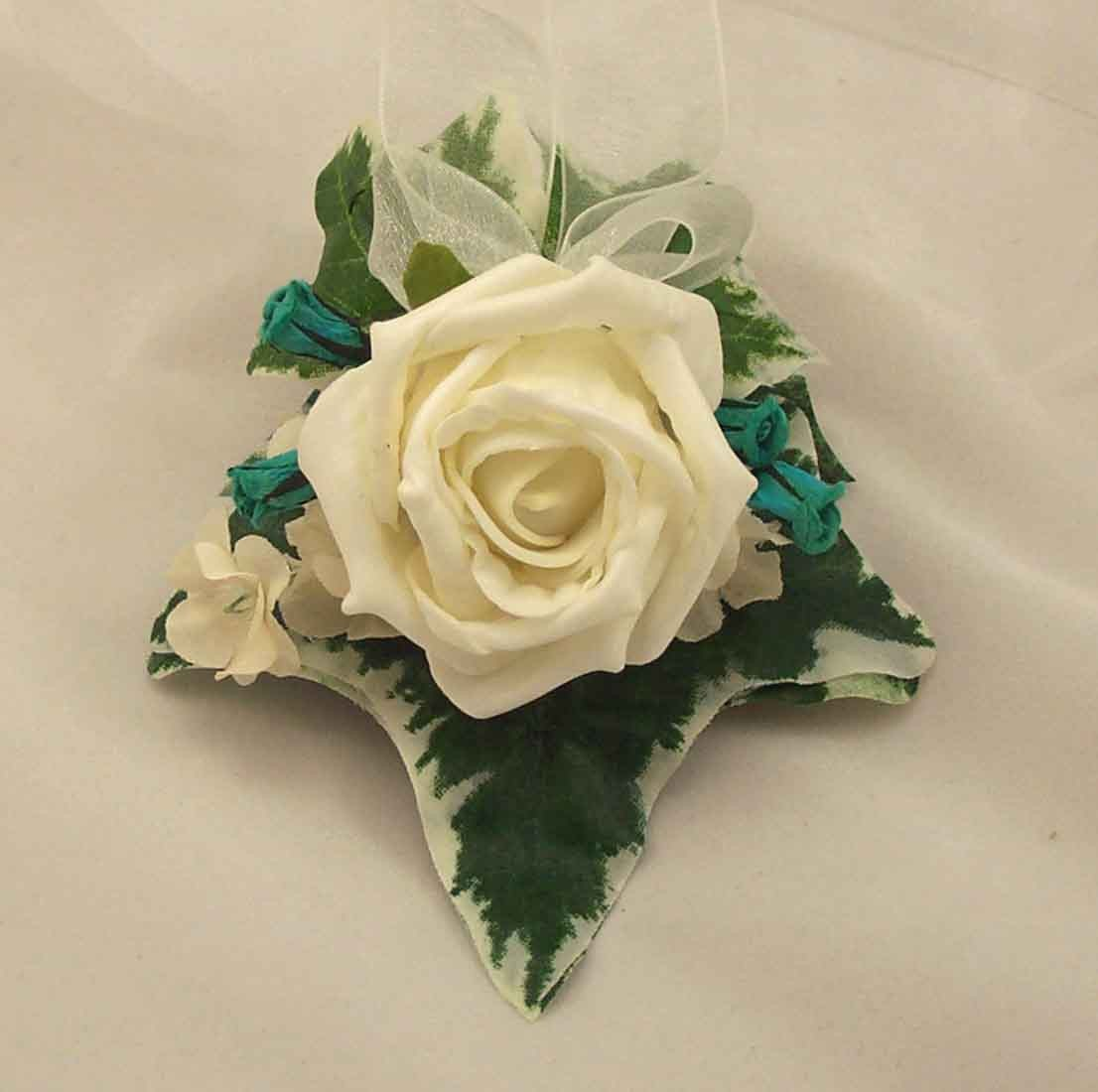 Ivory Rose & Teal Wrist Corsage