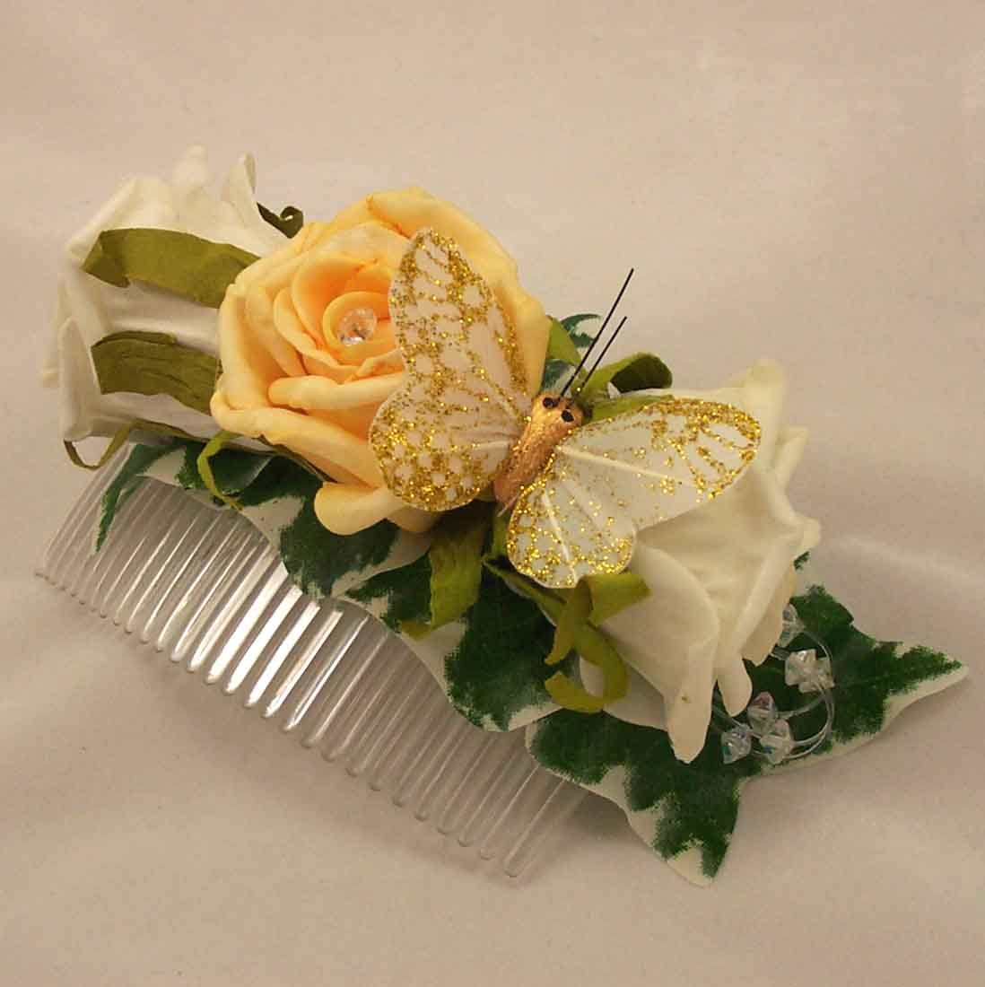 Gold & Ivory Rose Butterfly Hair Comb