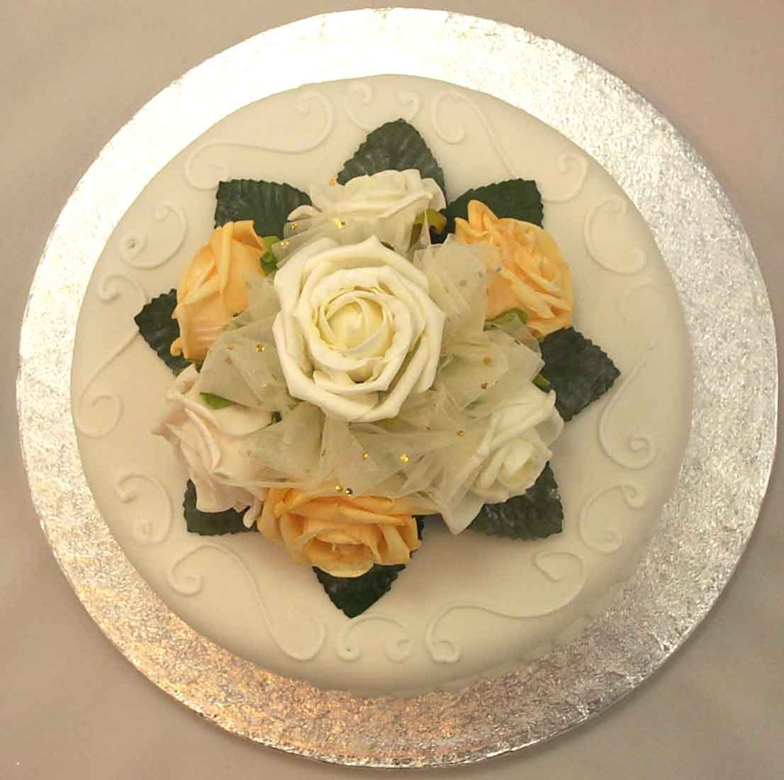 Cake Decorations - Ivory & Gold Rose Organza Cake Topper ...