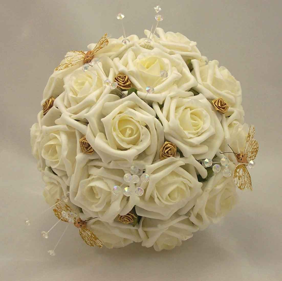 Gold Wedding Flowers: Ivory Rose & Gold Butterfly