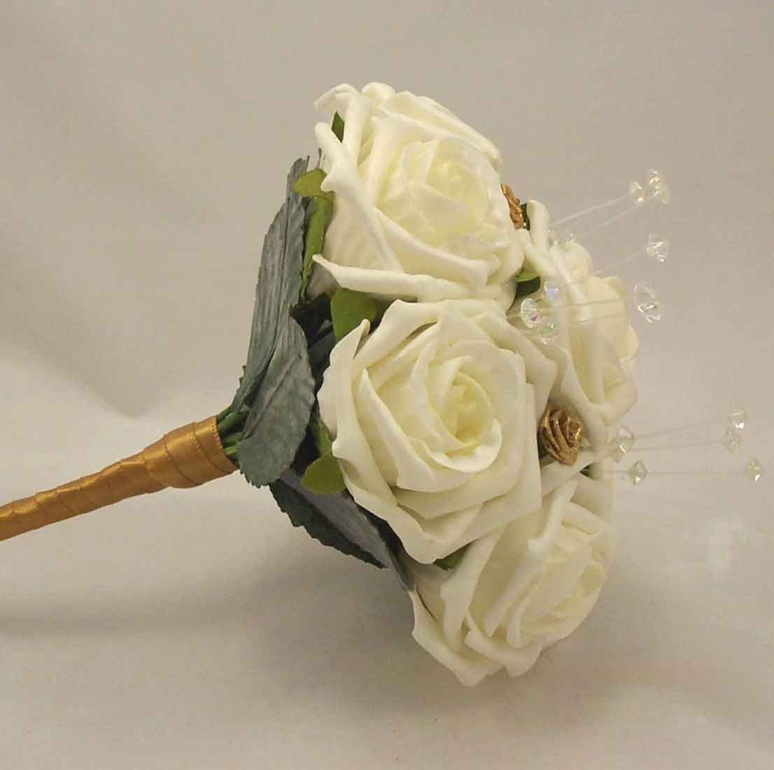Ivory Rose & Gold Children's Crystal Posy