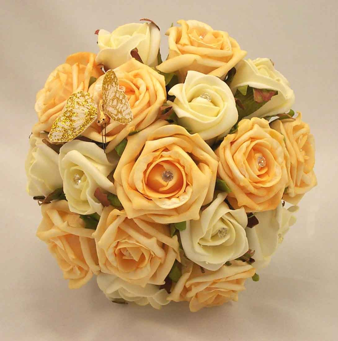 Gold & Ivory Scattered Rose Butterfly Posy