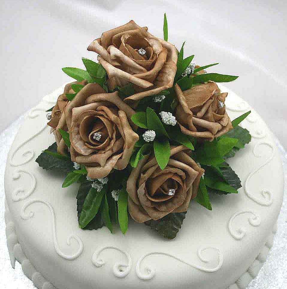 Mocha Rose Luxury Cake Topper