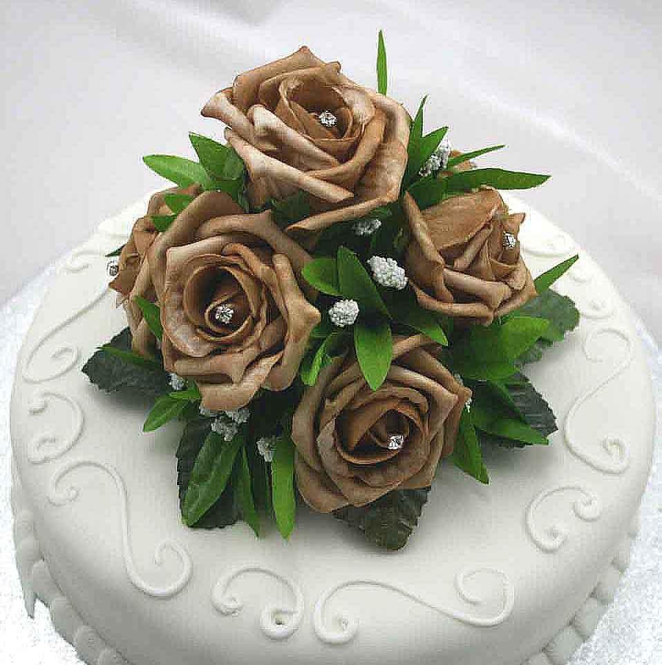 cake decorations - mocha rose luxury cake topper