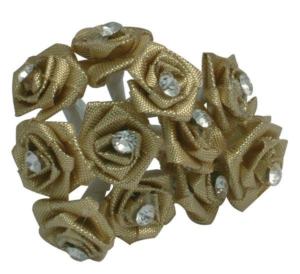 Gold Diamante Ribbon Roses