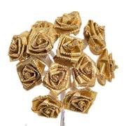 Gold Satin Ribbon Roses