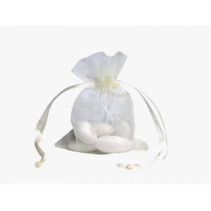 10 Ivory Organza Wedding Favour Bags