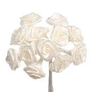 Ivory Satin Ribbon Roses