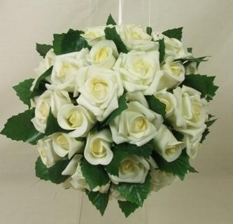 Large Ivory Rose & Leaves Pomander Ball