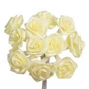 Lemon Yellow Satin Ribbon Roses