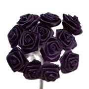 Navy Blue Satin Ribbon Roses